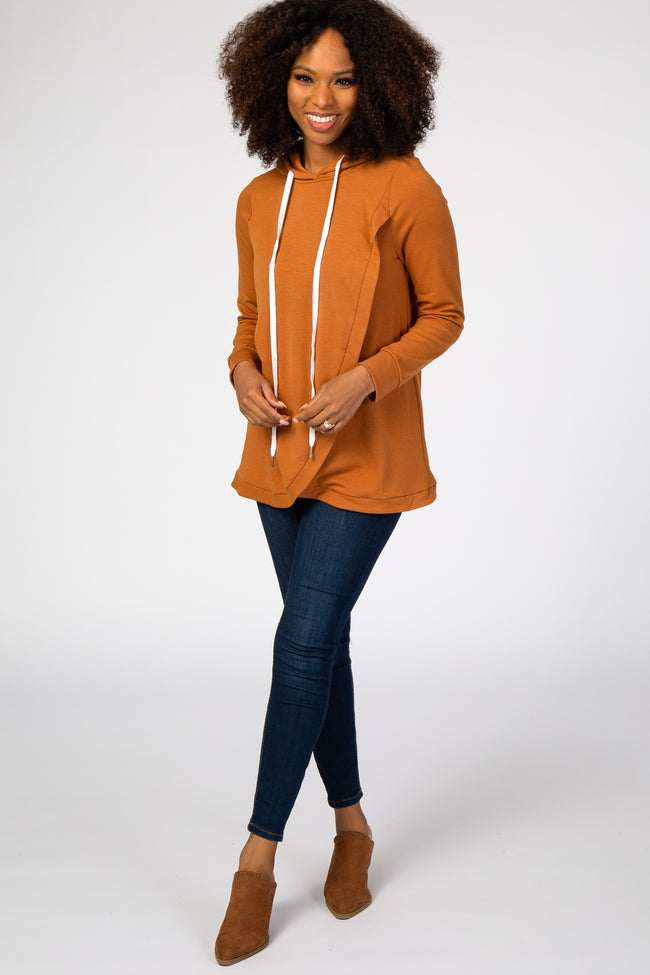 Rust Layered Front Nursing Fleece Hoodie