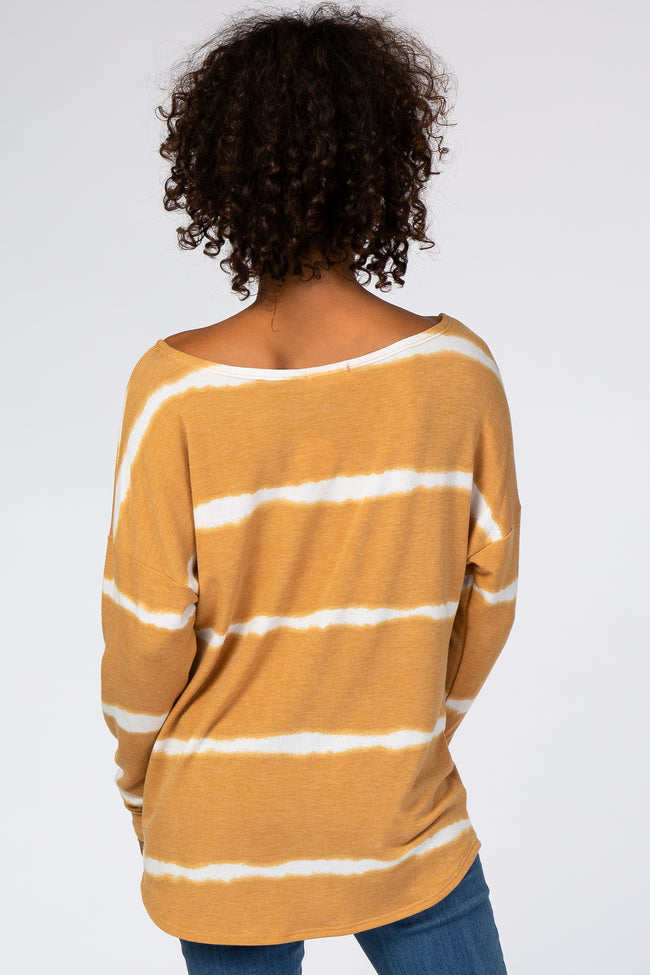 Yellow Tie Dye Striped French Terry Top