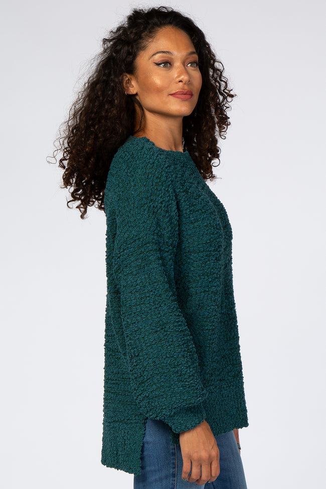 Forest Green Popcorn Knit Bubble Sleeve Sweater