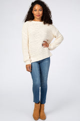 Ivory Popcorn Knit Bubble Sleeve Sweater