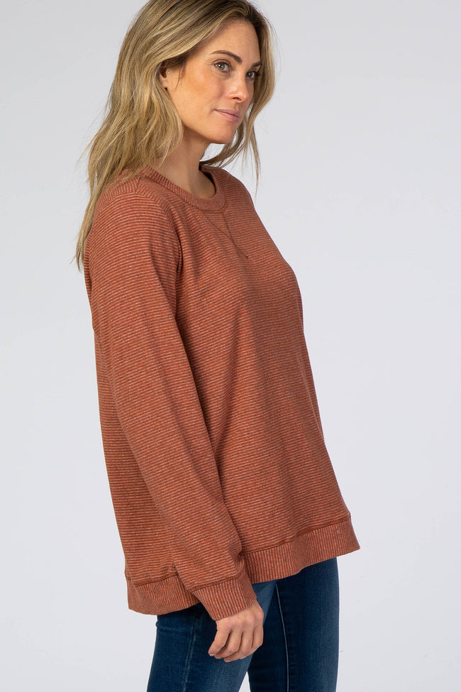 Rust Striped Brushed Top