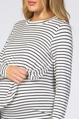 White Striped Layered Front Long Sleeve Maternity/Nursing Top