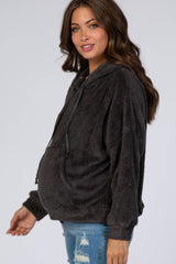 Charcoal Faux Fur Drawstring Pullover Maternity Top