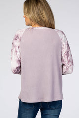Lavender Tie Dye Colorblock Sleeve Top