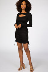 Black Front Cutout Ruched Drawstring Side Fitted Maternity Dress
