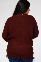 Burgundy Fringe Hem V-Neck Maternity Plus Sweater