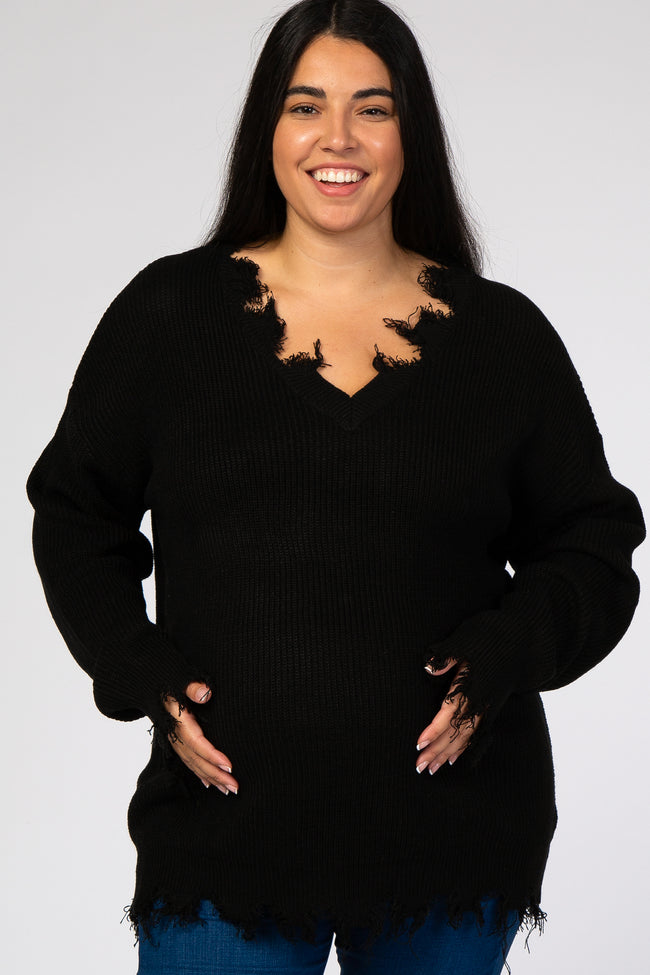 Black Fringe Hem V-Neck Maternity Plus Sweater