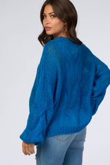 Royal Blue Cable Knit Maternity Sweater