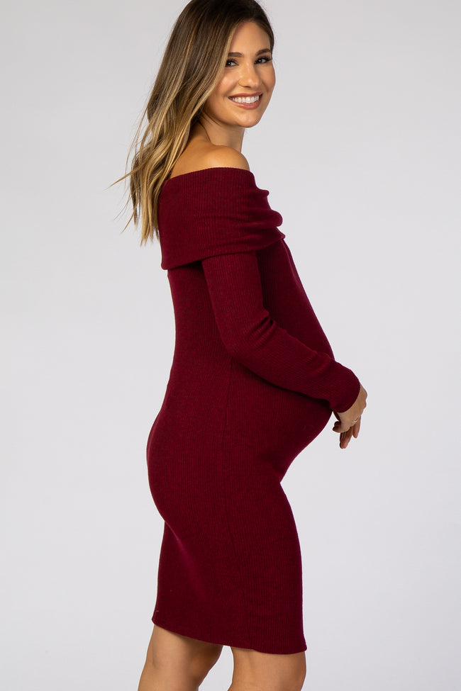 Burgundy Soft Ribbed Folded Neck Off Shoulder Maternity Dress