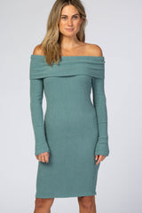 Teal Soft Ribbed Folded Neck Off Shoulder Maternity Dress
