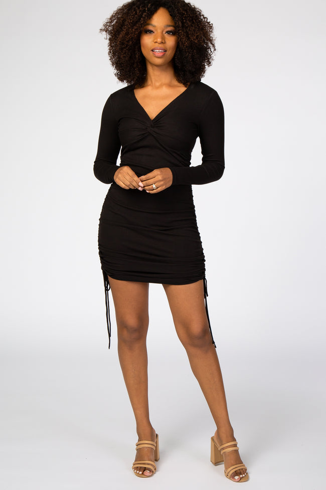 Black Ribbed Knot Front Ruched Side Dress