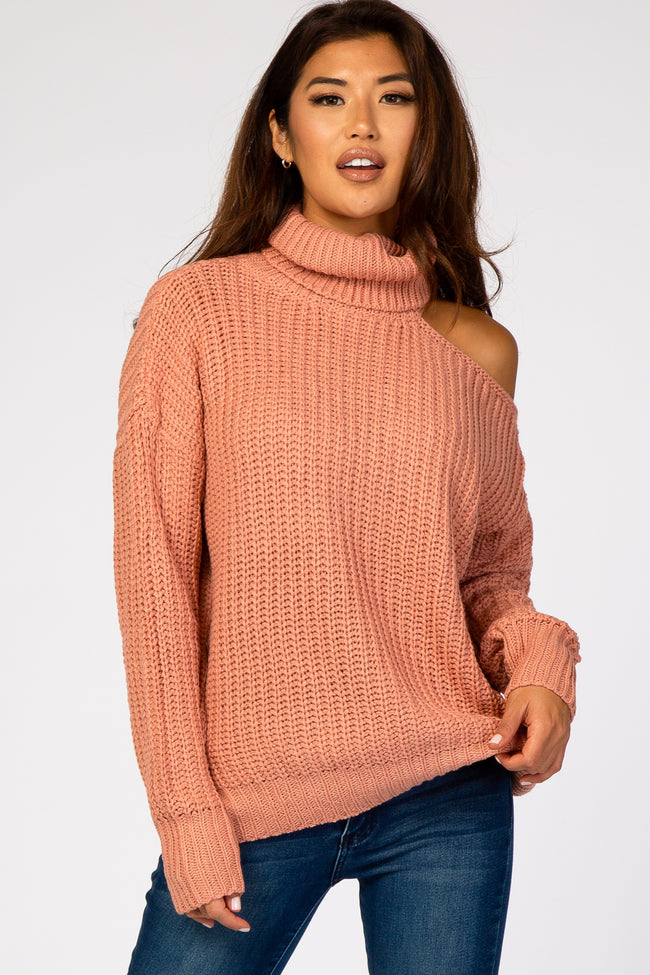 Mauve Cutout Shoulder Turtleneck Sweater