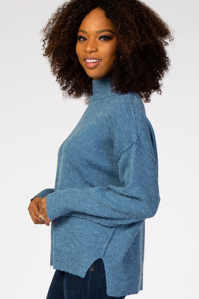 Blue Mock Neck Sweater