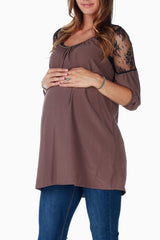 Brown Lace Shoulder Maternity Tunic