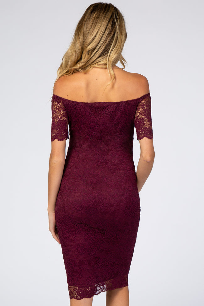 Burgundy Lace Short Sleeve Off Shoulder Fitted Maternity Dress