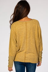 Yellow Brushed Dolman Button Sleeve Top