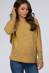 Yellow Brushed Dolman Button Sleeve Maternity Top