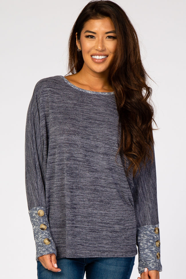 Navy Blue Brushed Dolman Button Sleeve Top