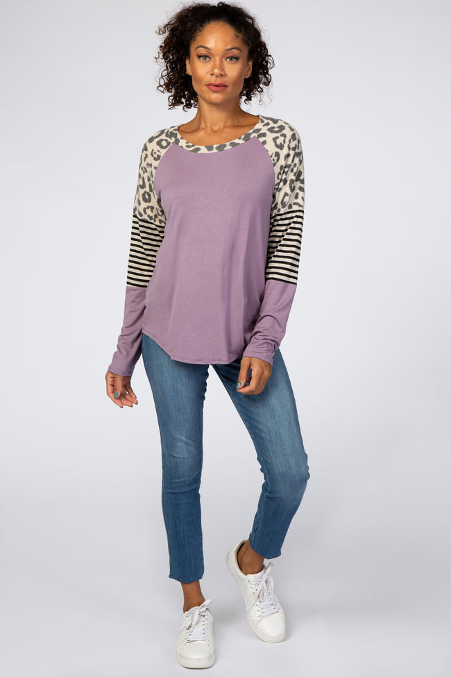 Lavender Mixed Print Colorbock Top