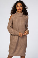 Taupe Cold Shoulder Turtleneck Sweater Dress
