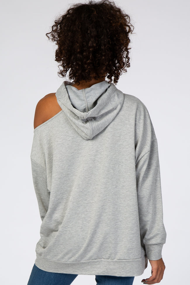 Heather Grey Shoulder Cutout Hooded Top