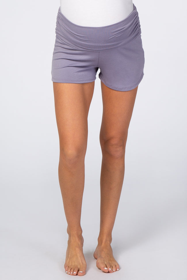 Lavender Ruched Side Maternity Lounge Shorts