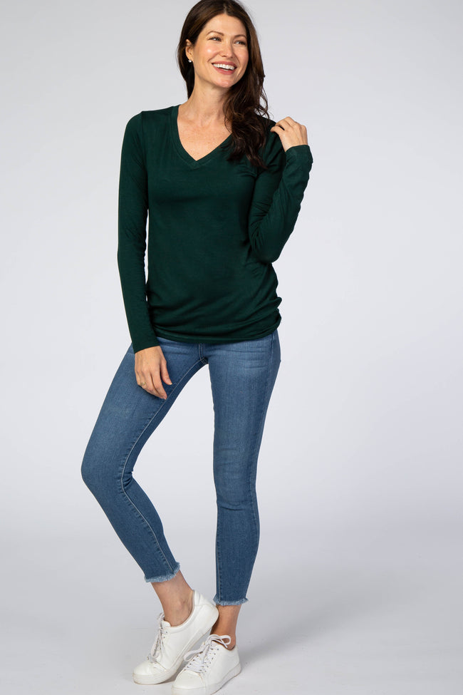 Forest Green V-Neck Long Sleeve Top