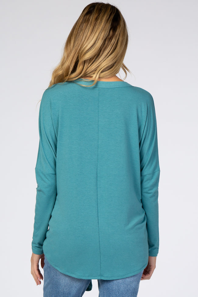 Aqua Button Up Tie Front Maternity Top
