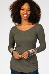 Olive Colorblock Sleeve Fitted Top