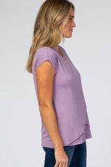 Lavender Layered Wrap Front Nursing Top