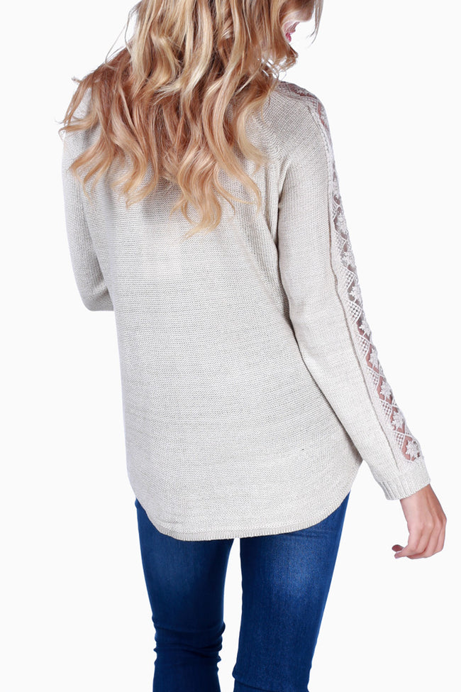 Beige Crochet Sleeve Maternity Sweater