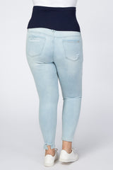 Light Blue Ripped Knee Distressed Hem Maternity Plus Jeans