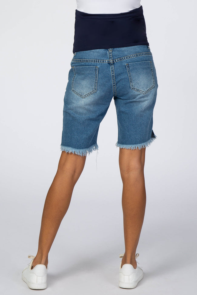 Blue Distressed Fringe Hem Maternity Jean Shorts
