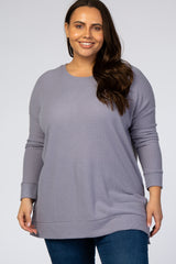 Lavender Waffle Knit Long Sleeve Plus Maternity Top