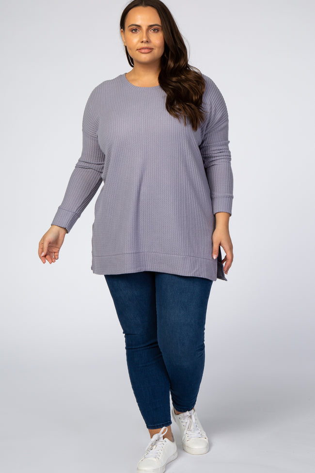 Lavender Waffle Knit Long Sleeve Plus Top