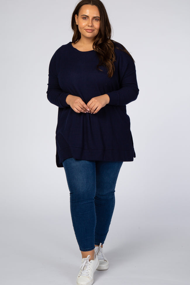 Navy Blue Waffle Knit Long Sleeve Plus Top
