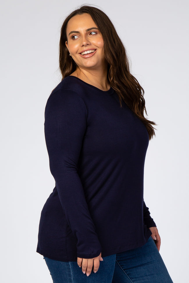 Navy Blue Solid Long Sleeve Plus Top