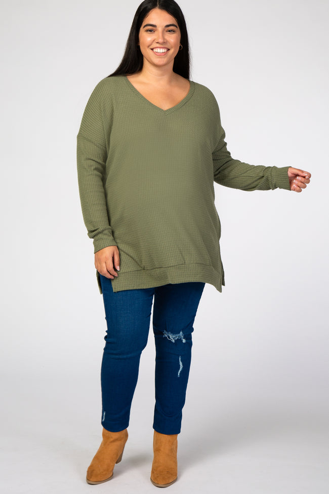 Light Olive Waffle Knit V-Neck Maternity Plus Top