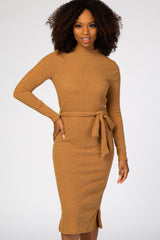 Yellow Ribbed Mock Neck Waist Tie Fitted Midi Dress