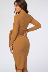 Yellow Ribbed Mock Neck Waist Tie Fitted Maternity Midi Dress