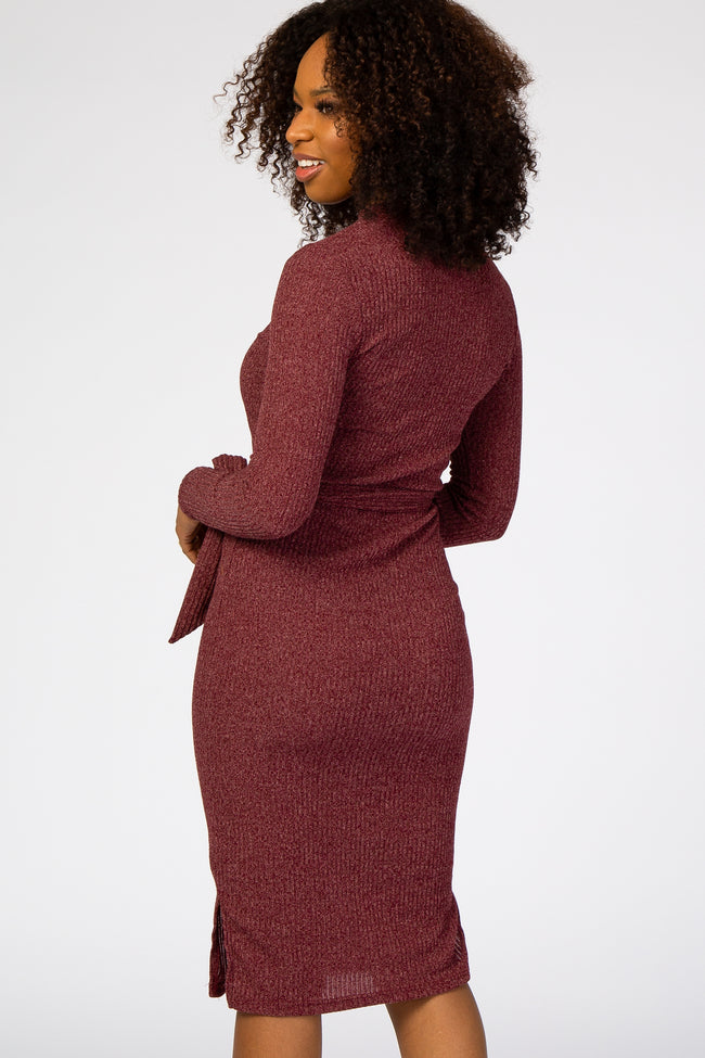 Burgundy Ribbed Mock Neck Waist Tie Fitted Midi Dress