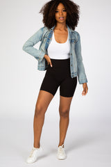 Black Ribbed Maternity Bike Shorts