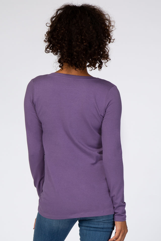 Lavender Fitted V-Neck Top