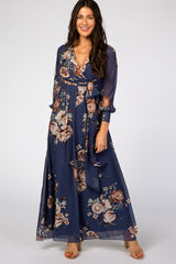 Navy Floral Chiffon Maxi Dress