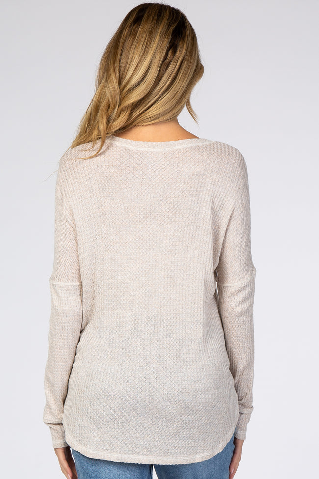 Beige Soft Waffle Knit Button Front Maternity Top