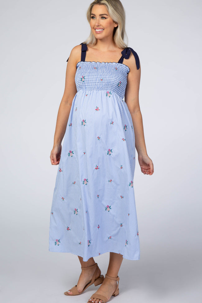 Light Blue Striped Floral Embroidered Midi Maternity Dress