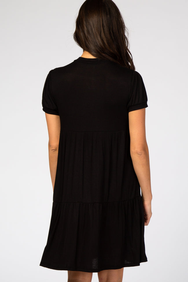 Black Ribbed Mock Neck Short Bubble Sleeve Tiered Dress