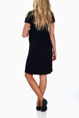 Black Draped Maternity/ Nursing Dress