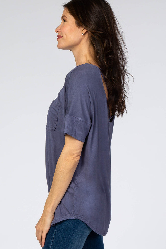 Blue Pocket Front Caged Back Cutout Top