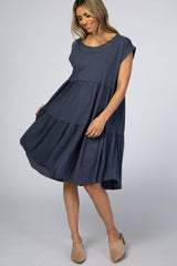 Navy Tiered Shift Dress